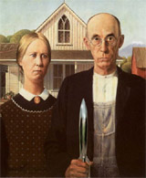 American Gothic, Grant Wood, Hugo Award rocket, Mount Fuji in the background