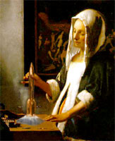Vermeer Dutch girl contemplating a Hugo Award rocket